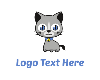 Paw - Cute Cat Cartoon logo design