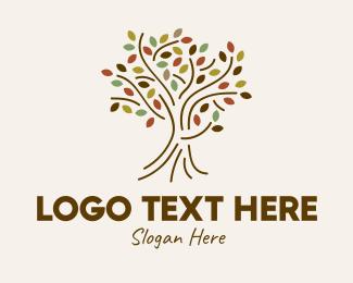Autumn - Autumn Outline Tree logo design