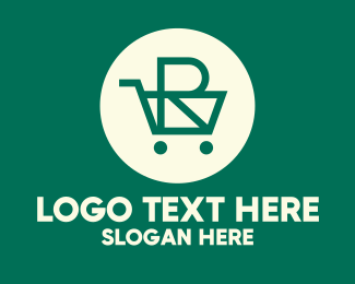 Grocery Delivery - Green Grocery Cart Letter R logo design