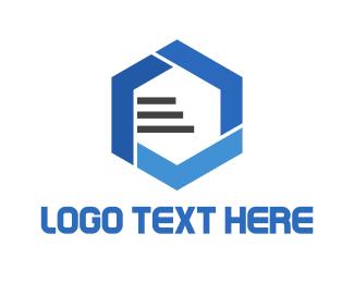 Database - Blue Hexagon logo design