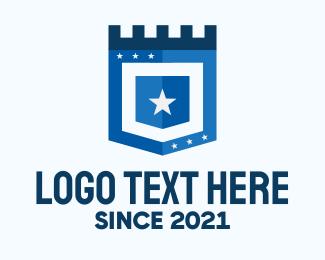 Defend - Blue Medieval Shield logo design