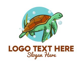 Sea - Wild Sea Turtle logo design