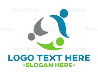 Trio - Abstract People logo design