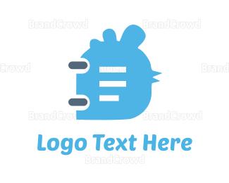 Hen - Bird Notebook  logo design