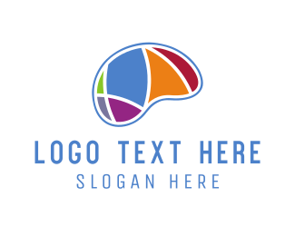 Learn - Colorful Brain logo design