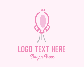 Rocket Launch - Pink Rocket Pig logo design