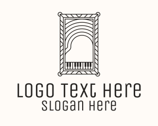 Piano - Vintage Grand Piano logo design
