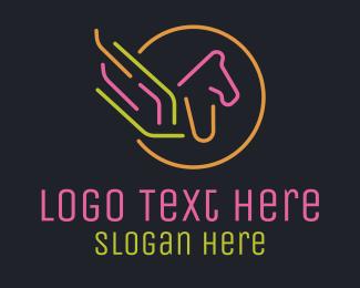 Betting - Neon Pegasus Monoline logo design