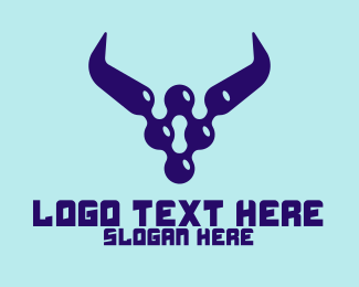Digital Security - Digital Blue Horns logo design