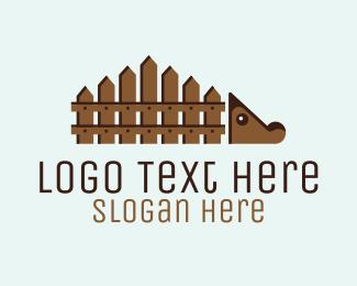 Wooden - Hedgehog Fencing logo design