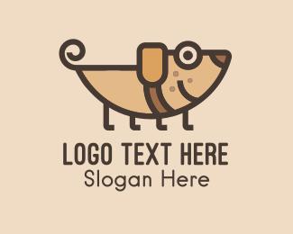 Puppy - Smiling Brown Puppy  logo design