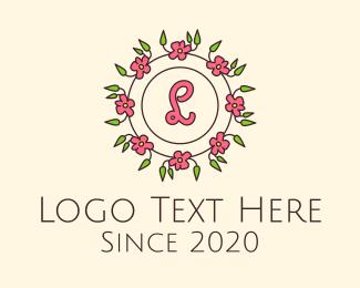 Flower Crown - Pink Floral Wreath Lettermark logo design