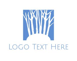 Mountain - White Trees Silhouette logo design