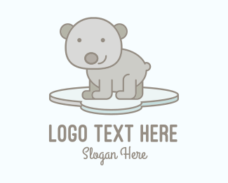 Brown Baby - Cute Smiling Bear  logo design