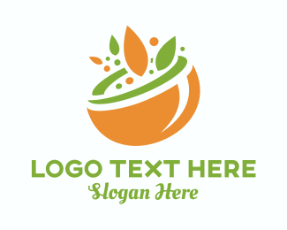 Vegan Food - Organic Food Bowl logo design