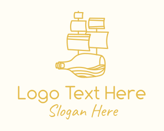 Pirate Ship - Galleon Bottle  logo design