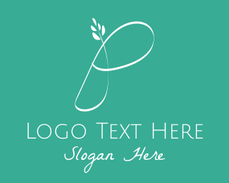 Therapuetic - White Floral Letter P logo design