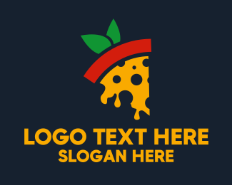 Vegan Food - Pizza Margherita  logo design