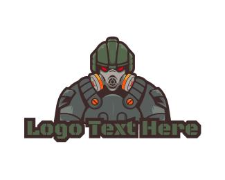 Gas Mask - Modern Soldier Gaming logo design