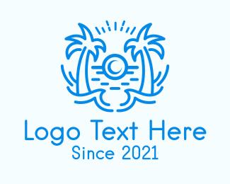 Tropical - Tropical Beach Waves logo design