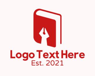 Pen - Red Pen Book logo design