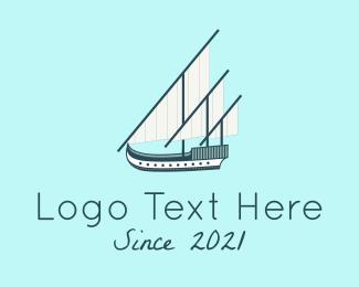 Voyage - Caravel Ship Boat logo design