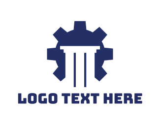 Cog - Blue Cog Pillar logo design