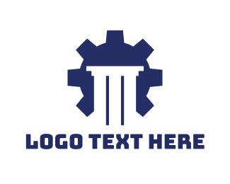 Trucking - Blue Cog Pillar logo design