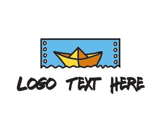 Canoe - Paper Boat  logo design