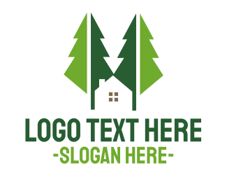 Forest - Green Forest Cabin logo design