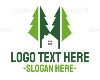 Broker - Green Forest Cabin logo design