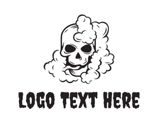 E Cigarette - Smoking Black Skull logo design