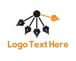 Clock - Pen Pendulum logo design
