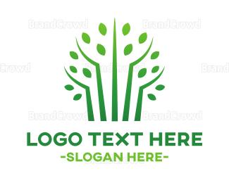Pure - Green Bamboo Trees logo design