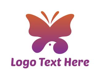 Purple Wings - Gradient Butterfly Bird logo design