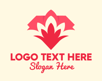 Lotus Flower - Red Flower Garden logo design