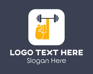 Weighlifting - Finger Fitness App logo design