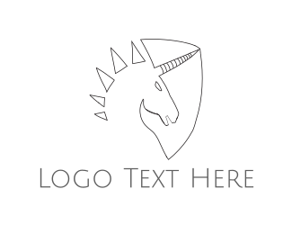 Horn - Unicorn Shield  logo design