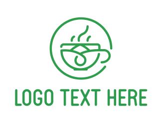 Vegan - Tea Shop Cafe Circle logo design