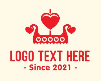 Scandinavian - Viking Love Boat logo design