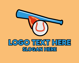 Baseball Bat - Fast Baseball Hit logo design