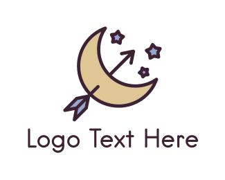 Crescent - Arrow Moon logo design