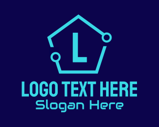 Video Conferencing - Circuit Hexagon Lettermark logo design