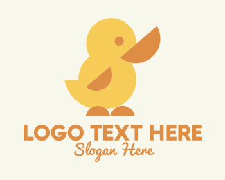 Rubber - Geometric Yellow Duckling logo design