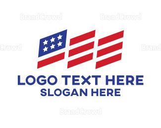 American Flag - Geometric USA Flag logo design