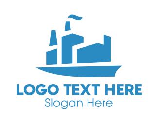Blue Cargo Ship  Logo