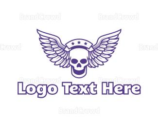 Wing - Star Skull Wing logo design