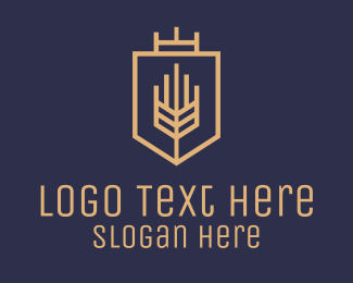 Crest - Geometric Wheat Crest logo design