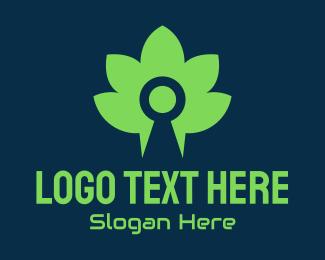 File Sharing - Green Bio Keyhole logo design