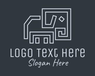 Gray Elephant Line Art logo design